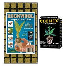48 Small Rockwool Propagation Cubes, Clonex 50ml