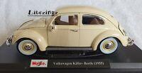 NEW MAISTO 1:18 Diecast Model Car 1955 Volkswagen Kafer Beetle in Cream