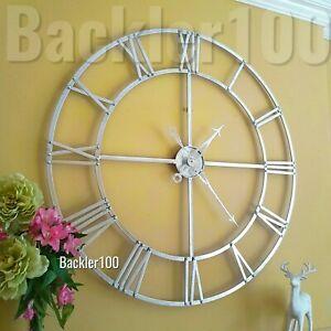 Large 100cm Skeleton WALL CLOCK metal silver metallic finish round statement