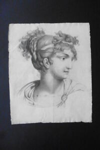FRENCH NEOCLASSICAL SCHOOL CA. 1800 - FINE PORTRAIT YOUNG WOMAN - CHARCOAL