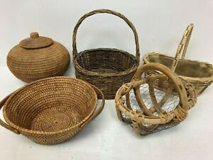 Small Wicker Storage Display Baskets Handles Bundle x5 E63