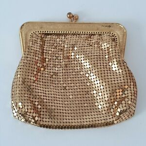 'GLOMESH' VGC VINTAGE GOLD GLOMESH LINED LADIES PURSE WITH BALL CLASP