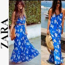 ZARA RARE Blue Multi Floral Print Chiffon Bloggers FAV Maxi Dress ~ M  M3020