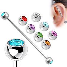 Surgical Steel Multi-Color Gem Industrial Bar Scaffold Ear Barbell Ring PIERCING