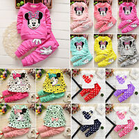 2pcs Toddler Kids Baby Girls Minnie Mouse Casual Pullover Tops Tops Pants Outfit