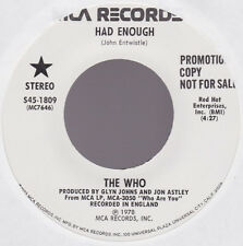 Who THE WHO Had Enough White Label Promo USA 45 W/O PS