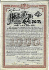 New Jersey 1890 The Accumulator Company $1000 Bond Signed by Theodore Vail #37
