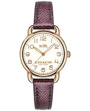 NWT Coach WOMENS Delancey ROSE GOLD METALLIC CHERRY LEATHER WATCH 28mm 14502251