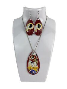 NFL Washington Redskins Team Logo Teardrop Spinner Earrings & Necklace Set
