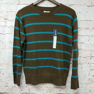 Cherokee Boys Pullover Crew Neck Sweater Sz L 12/14 Brown Blue Stripe New
