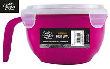 PINK 940ml MICROWAVABLE PLASTIC FOOD CONTAINER BOWL LUNCH SOUP HANDLE WITH LID