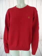 RALPH LAUREN Sweater Mens M Red Cotton Knit Pullover Crewneck Ribbed Hem CLASSIC
