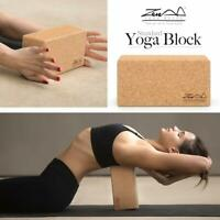 Cork Wood Exercise YOGA BLOCK Brick For Fitness Stretching Aid Gym Pilates UK