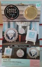 Cross Stitch Style Wood 15 Piece Baby Set Easel Frame Necklace Keychain KIT