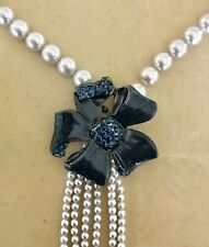 BABYLONE PARIS RARE PEARL, ENAMEL AND JEWELS NECKLACE - ESTATE PIECE - NEW
