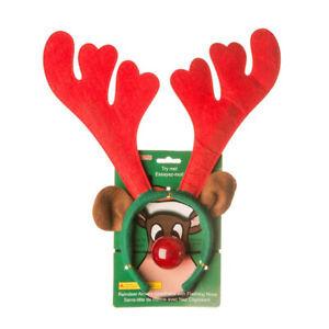 Reindeer Antlers unisex Nose Elf Headband Day Novelty Christmas Fancy Dress