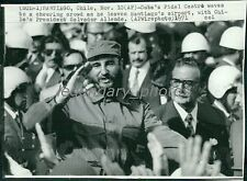1971 Fidel Castro Waves to Crowd Original New Service Photo