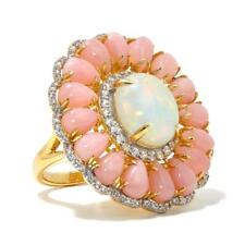 Rarities Vermeil 12x10 Ethiopian Opal, Pink Opal and White Zircon S Silver Ring