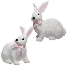 "E3652278 RAZ 11"" White Bunny Rabbit Easter Spring Table Decoration Faux Fur Pink"