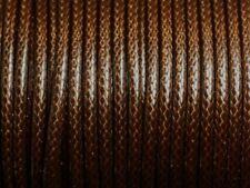 3 mètres - Cordon Coton Ciré 3mm Marron Café Chocolat   4558550010285