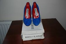 Ladies 1980 Vintage funky blue suede red high heel MANOLO's size 5C (UK 3)