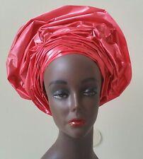 African Gele Head tie. Red.  Ready To Wear. Swiss sego fabric.
