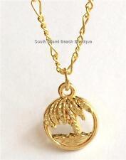 "Gold Palm Tree Necklace Coconut Hawaiian 18"" Hawaii Island Beach Nautical Plated"