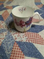 "Small coffee cup, bone china Rose of England, used, 3"" tall, nice floral design."