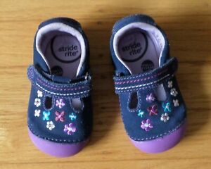 Stride Rite Baby Girl Shoes Size 4.5M Mary Jane PURPLE with Flowers