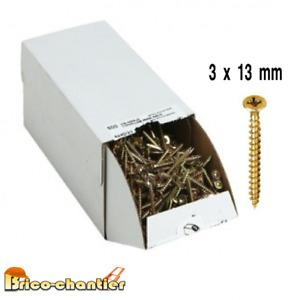100 Vis a bois agglo 3 x 13 mm visserie en lot