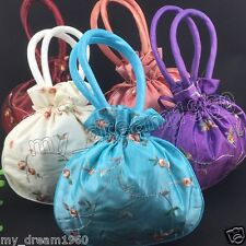 Lots 5pcs Multi-Color Satin Silk Embroidered Flower Cosmetic Jewelry Bags Purse