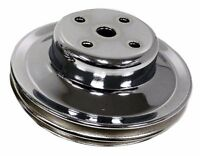 STEEL CHEVY BB WATER PUMP PULLEY - 2 GROOVE LONG LWP - CHROME