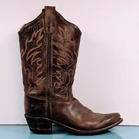 Old West Children's Sz 3 Brown Canyon Snip Toe Leather Western Cowboy Kids Boots