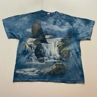 Vintage The Mountain T-Shirt Size XL Bald Eagle Water Fall Nature Retro Tie Dye