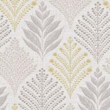 Floral Flower Leaf Glitter Wallpaper Grey Yellow Textured Retro Grandeco A23304