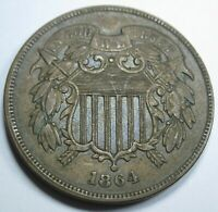 1864/1864 Repunched Date US Two Cent Piece Rare 1864 2 Penny FS-1303 RPD-006