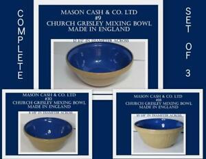 Mason Cash Church Gresley England #9 ,#18 & #30 Mixing Nesting Bowl Set Rare HTF
