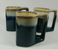 Rodolfo Padilla Stoneware Drip Glaze Art Pottery Mugs Set of 3 Blue/Cream
