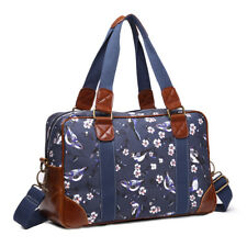 Birds Floral Oilcloth Ladies DESIGNER Handbag Shoulder Tote SHOPPER Bag Large Navy