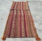 Hand Knotted Vintage Large  Afghan Khurjeen Saddle Bag Kilim Wool Area Rug 4 x 1