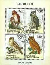 Timbres Oiseaux Hiboux Cote d'Ivoire 1330/3 o année 2014 lot 14583