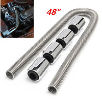 Universal 48'' Stainless Steel Radiator Flexible Coolant Water Hose Kit w/Caps