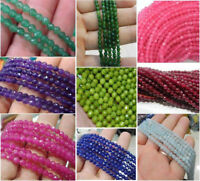 4MM Natural Faceted Jade Amethyst Emerald Round Gemstone Loose Beads 15''