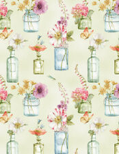 Floral Vases, Watercolor Pastels, Light Green, Rainbow Seeds, WP (By 1/2 yd)