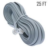 25ft RJ11 4C Modular Telephone/Phone Extension Line Cord Cable Wire 28AWG Gray