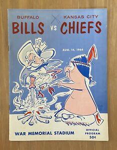 VINTAGE 1964 AFL NFL KANSAS CITY CHIEFS @ BUFFALO BILLS FOOTBALL PROGRAM - AUG14
