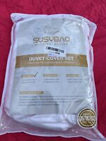 SUSYBAO Duvet Cover Set, Twin Size Duvet And Pillowcase, WHITE, NEW