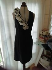 S L Fashions Black Ruched Evening Dress Size 14
