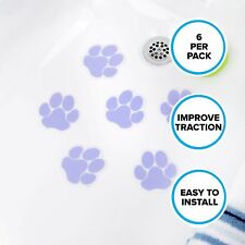 Adhesive Paw Print Bath Treads (6 Per Pack) in Purple by SlipX Solutions