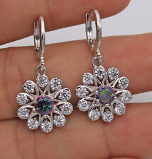 18K White Gold Filled - MYSTICAL Topaz Hollow Windmill Flower Wedding Earrings